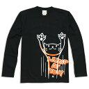 猫 ねこ ロンT JUMP ( ブラック ) | ネコ 猫柄 猫雑貨 | メンズ レディース 長袖 Tシャツ トップス | かわいい おしゃれ 大人 ペアルック...