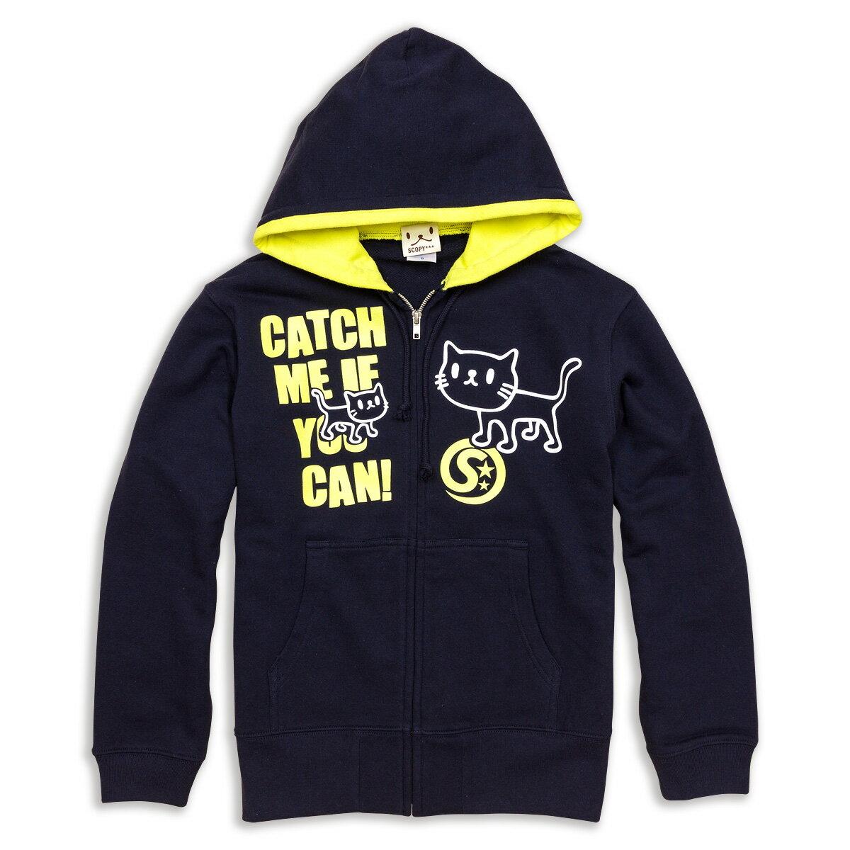 猫 ねこ パーカー CATCH ME ( ネイビー×イエロー )   ネコ 猫柄 猫雑貨   メンズ レディース かわいい おしゃれ 大人 ペアルック お揃い プレゼント   大きいサイズ   SCOPY / スコーピー
