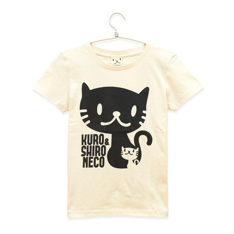 猫 ねこ レディース Tシャツ しろ&くろねこさん ( ナチュラル ) | ネコ 猫柄 猫雑貨 | 半袖 トップス | かわいい おしゃれ 大人 プレゼント | SCOPY / スコーピー