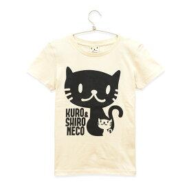 【 ポイント10倍 〜6/26 2時マデ 】 猫 ねこ レディース Tシャツ しろ&くろねこさん ( ナチュラル ) | ネコ 猫柄 猫雑貨 | 半袖 トップス | かわいい おしゃれ 大人 プレゼント | 猫の日 | SCOPY / スコーピー