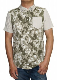 【中古】アルマーニ エクスチェンジ ARNANI EXCHANGE 半袖ポロシャツ 3YZFAB ベージュ メンズ 夏物 ボタンダウン イーグル 迷彩 涼しい
