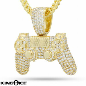"King Ice×PlayStation キングアイス プレイステーション ネックレス ゴールド VVS Diamond ""The Iced Out Gold Classic Controller Necklace"" 人気ブランド アクセサリー 金メッキ メンズ レディース 男女兼用 送料"