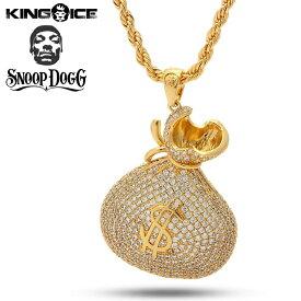 """キングアイス スヌープドッグ ネックレス ゴールド VVS Diamond """"The 14K Gold Money Bag Necklace - Designed by Snoop Dogg x King Ice"""" 人気ブランド アクセサリー 金メッキ メンズ レディース 男女兼用 送料無料"""