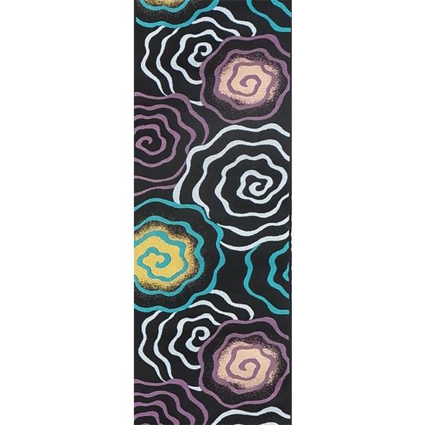 半幅帯 正絹「渦巻き」 黒系 京玉響 西陣織