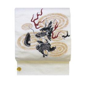 名古屋帯 正絹 白 龍 「龍神」 ホワイト 京玉響 西陣織