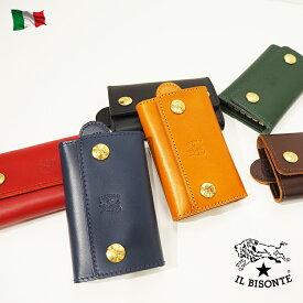 ギフト IL BISONTE イルビゾンテ 本革 牛革 レザー 6連 キーフック付 キーケース 大 C0966