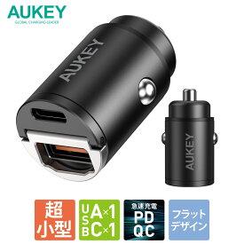 シガーソケット USB 充電器 AUKEY オーキー Nano Series 30W ブラック CC-A3-BK スマホ iPhone Android カーチャージャー 充電 小さい コンパクト 軽量 スリム 出っ張らない PD3.0 QC3.0 2ポート 2年保証