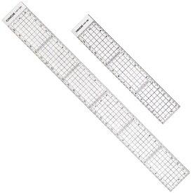 コンサイス 方眼カッティングスケールセット 15cm 30cm 直定規2枚組 HSTS-1530 背面ステンレス加工 デザイン ものさし 文房具 事務用品 製図