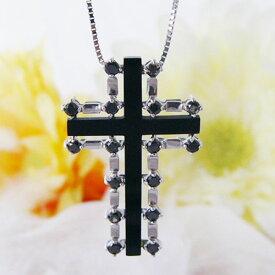 クロス オニキス ブラックダイヤモンド K18WG ネックレス 男女兼用 男性用 女性用 40cm 〜 45cm ベネチアンチェーン