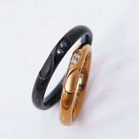 ステンレス ペアリング 刻印無料 金属アレルギー対応アクセ 低アレルギー vie シンプル ハート ダイヤアモンド ブラックカラー 人気
