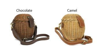 メゾラタン革バッグ視線を独り占めできるレトロな風合いの上質ラタンバスケットバッグ