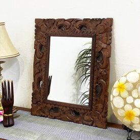 アジアンミラー 木製フレーム 壁掛け鏡 ウォールミラー 45×55cm バリ彫刻 透かし おしゃれ アジアン家具