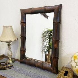 壁掛け鏡 アジアンミラー 木枠バンブー柄 75×55cm 【木製 ウォールミラー おしゃれ インテリア アジアン 竹模様 アジアン雑貨】