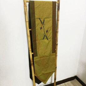 タペストリー 茶緑×刺繍 245×35 C-2【テーブルセンター イカット ー クロス モダン 壁飾り インテリア エスニック アジアン雑貨 】