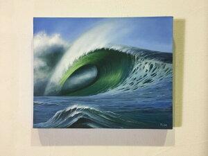バリアート 波の絵 E-1 H40×W50 (1155)【バリ絵画 海の絵 アートパネル サーフィン ハワイアン サーファー 風水 アジアン 南国 バリ島 ウブド 海 リゾート ビッグウェーブ】