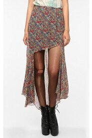 【SALE セール】 UNIF(ユニフ) Abbey Paisley Skirt ペイズリー柄テールカットシフォンスカート【ELLE エル グラマラス グリッター レディース スカート ペイズリー】