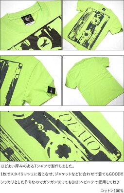 DemoTape(デモテープ)Tシャツ(ライムグリーン)-BPGTbk001tee-lm-G完-半袖カセットテープロックTシャツバンド音楽音源アメカジカジュアルかっこいいメンズレディースファッション大きめサイズ緑色春夏秋服コーデコットン綿100%【RCP】