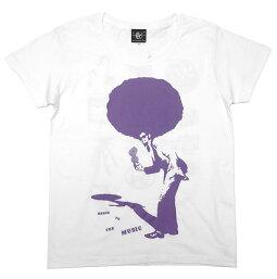 SOUL80(ビックアフロ)ガールズUネックTシャツ-BPGT-sp021-gu-G-ソウルミュージックディスコダンスR&Bかわいいアメカジカジュアルオリジナルプリント半袖レディースカットソーホワイト白Tシャツ屋さんバンビ【RCP】