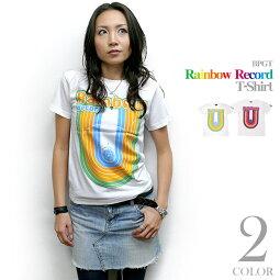 RainbowRecord(レインボーレコード)TシャツBPGTsp028tee-じ完-虹色音楽ミュージックポップロックグラフィックかわいいカジュアルオリジナル半袖メンズレディースユニセックスホワイト白色コットン綿100%Tシャツ屋さんバンビ【RCP】