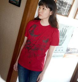 蠍座ガール(ScorpioGirl)Tシャツ(レッド)bastergreatbg019tee-rd-Z完-サソリさそり座星座神話イラストコラボかわいいきれいめカジュアルメンズレディースユニセックス半袖tee大きいサイズ赤色コットン綿100%Tシャツ屋さんバンビ【RCP】