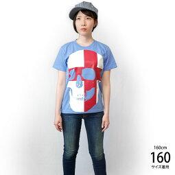 セントジョージクロススカルTシャツ(サックス)tgw041tee-sax-Z完-半袖水色パンクロックTシャツドクロガイコツ髑髏イングランド英国十字旗かっこいいオリジナルメンズレディース男女兼用ブランド大きいサイズTシャツ屋さんバンビ【RCP】