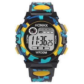腕時計 スポーツ イエロー 子供用腕時計 LED デジタル スポーツウォッチ 男の子 女の子 小学生 低学年 小学校 キッズ 卒業 入学 進学