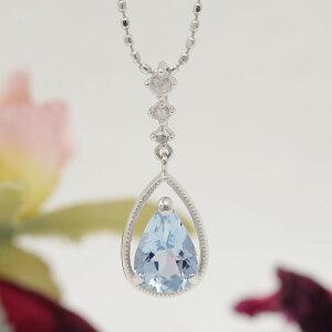 アクアマリン×ローズカットダイヤペンダントトップ「デュウ」jewelry_benebene 誕生石 3月 4月