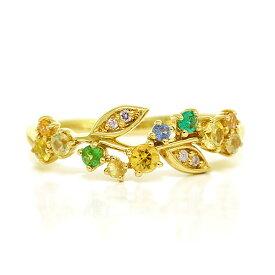 イエローサファイア×エメラルド×ダイヤモンドリング「サマーローズ」jewelry_benebene 誕生石 4月 5月 9月 クリスマス プレゼント