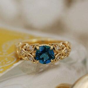 ロンドンブルートパーズ×ダイヤモンドリング「ファヤージュ」対応金種:K18WG/K18YG/K18PG/K18SG 誕生石 4月 11月
