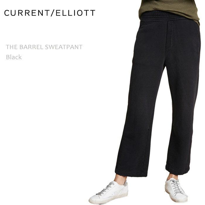 ≪New≫CURRENT ELLIOTT(カレントエリオット)THE BARREL SWEATPANT Black ワイドパンツ スウェットパンツ ブラックパンツ ワイドレッグ