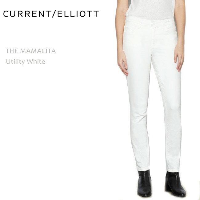 【SALE】CURRENT ELLIOTT(カレントエリオット)THE MAMATICA Utility White【送料無料】クロップド/スキニー/カラーデニム/ホワイトデニム
