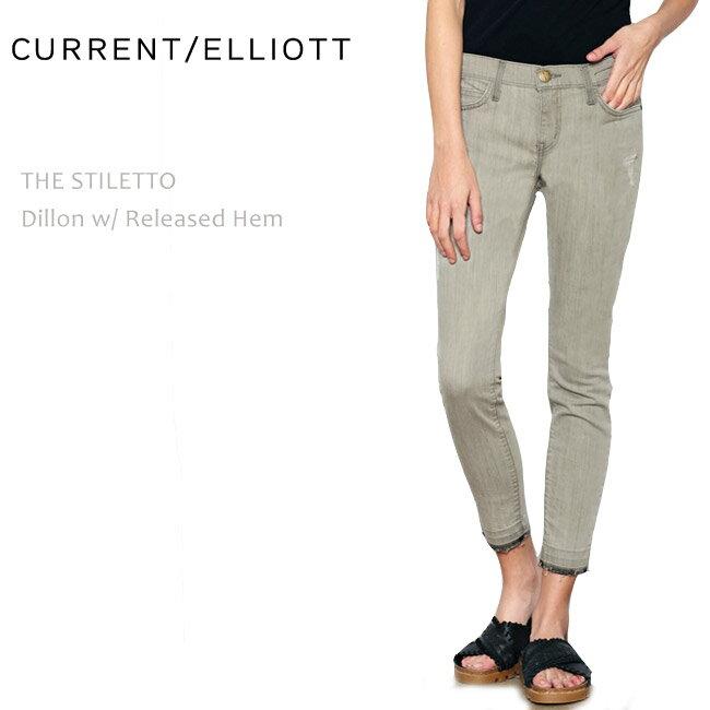 【SALE】CURRENT ELLIOTT(カレントエリオット)THE STILETTO Dillon w/Released Hem【送料無料】/スキニー/クロップド/カラーデニム/ダメージ/クラッシュ