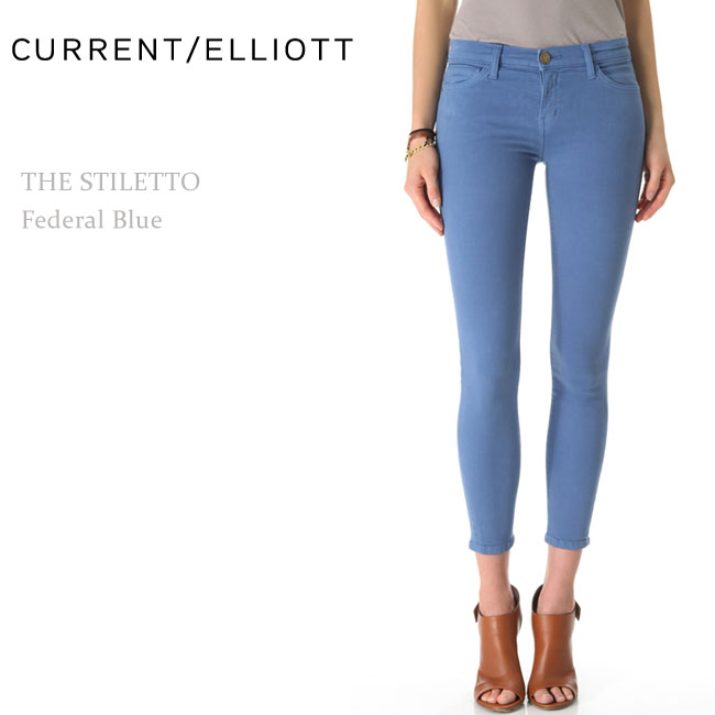 【SALE】Current Elliott(カレントエリオット)THE STILETTO Federal Blue スキニー/カラーデニム