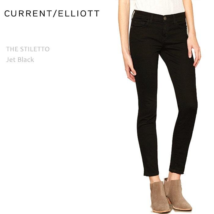 CURRENT ELLIOTT(カレントエリオット)THE STILETTO Jet Blackスキニー/クロップド/デニム/カラーデニム/ブラックデニム