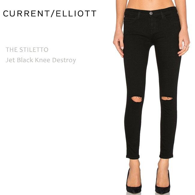 【SALE】CURRENT ELLIOTT(カレントエリオット)THE STILETTO Jet Black Knee Destroy【送料無料】クロップド/スキニー/カラーデニム/ブラックデニム/ダメージ
