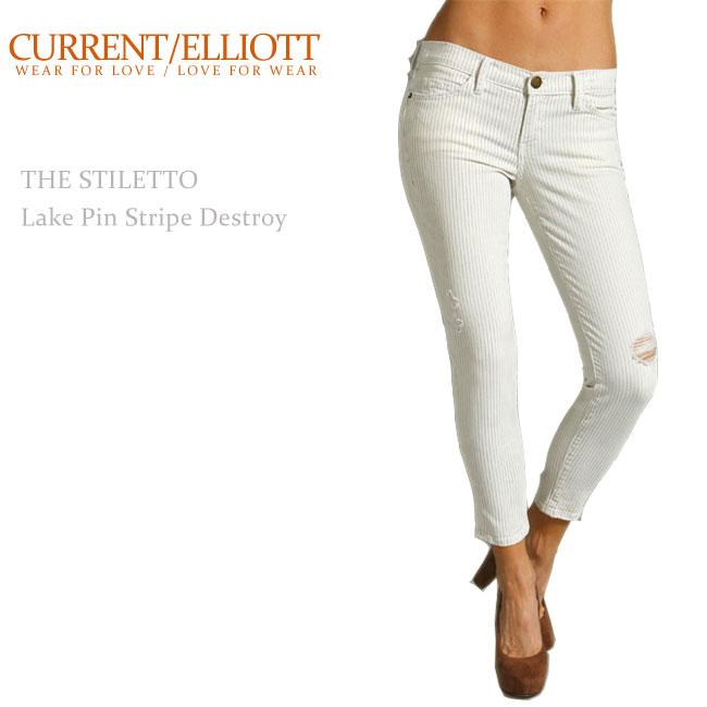 【SALE】Current Elliott(カレントエリオット)THE STILETTO Lake Pin Stripe Destroy