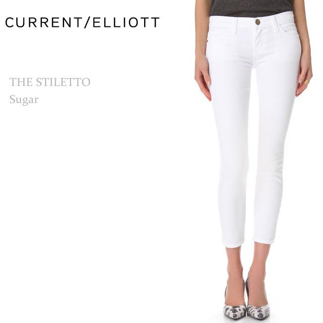 ≪再入荷≫Current Elliott(カレントエリオット)THE STILETTO Sugar【送料無料】クロップスキニー/ホワイトデニム/カラーデニム