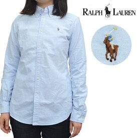 ポロ ラルフローレン【POLO RALPH LAUREN】Custom Fit Shirt 211700325 レディース コットン シャツ ボタンダウン オックスフォード ポニー 女性 トップス シンプル 長袖 BLUE【あす楽】