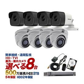 【感謝祭】防犯カメラ 屋外 屋内 500万画素 カメラ8台 3TB HD-TVI 防犯カメラセット【あす楽対応】