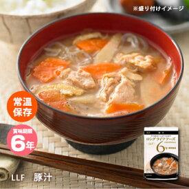 おいしい非常食 LLF食品 豚汁180g(防災グッズ 6年保存 ロングライフフーズ とん汁 みそ汁 味噌汁 美味しい)【bousai_d19】
