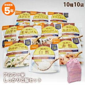 非常食 ご飯 5年保存 尾西食品のアルファ米10種 しっかりご飯セット(おかゆなしセット アルファー米 ごはん 保存食)