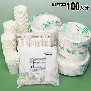 エコ食器セット100人分(使い捨て食器 紙皿)