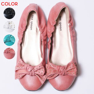 Grain studs ribbon ★ flat sole pumps trendy design popular in this season★