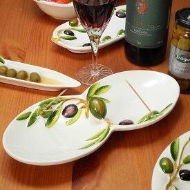 イタリア製 オリーブ柄 プレート 陶器 おしゃれ 食器 おつまみ用 皿 オードブル皿 楊枝立て付き コンビトレイ 平皿 ピックスタンド付 パーティ ヨーロッパ bre-1451-ov