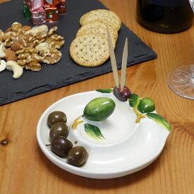 イタリア 食器 オリーブ 専用 食器 (12cm) オリーブ柄 陶器製 ピックスタンド付 渦巻き 型の お皿 グリーンオリーブ 手作り ヨーロッパ 南欧食器 イタリア製 おしゃれ 白 プレート Italy bre-1573s-ov