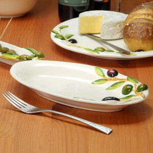 イタリア製 オーバルプレート 楕円 平皿 オリーブ柄 食器 陶器製 楊枝立て付 26cm 前菜皿 パーティープレート オリーブ 南欧食器 カフェ bre-2406-ov