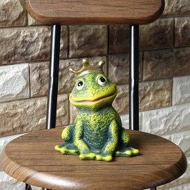 ポルトガル製 緑 かえる 幸せを呼ぶ 開運 カエルグッズ 置物 テラコッタ製 ヨーロッパ ガーデン オブジェ 14cm 【カエルの王子様】 アンティーク調 インテリア ラッキーアイテム pto-2313g