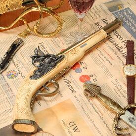 スペイン製 フリントロック式 中世 古式銃 ヨーロッパ アンティーク風 西洋武具 レプリカ 白 ピストル ゴールドバレル 合金製 アイボリー モデルガン 拳銃 38cm sko-1106be