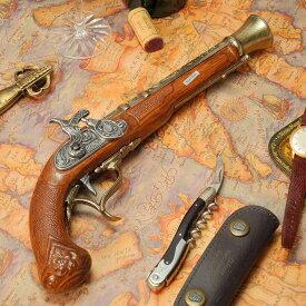 スペイン製 パーカッションロック式 中世 古式銃 ヨーロッパ アンティーク風 西洋武具 レプリカ ピストル ゴールドバレル 合金製 モデルガン 拳銃 35cm sko-1111br