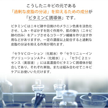 ニキビ化粧水高濃度ビタミンC誘導体ニキビケア大人ニキビ脂性肌ニキビ跡毛穴ケアくすみシミヒアルロン酸[セラVCローション100ml]